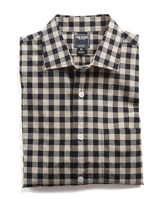 Todd Snyder - Spread Collar Black Check Shirt for Men - Lyst
