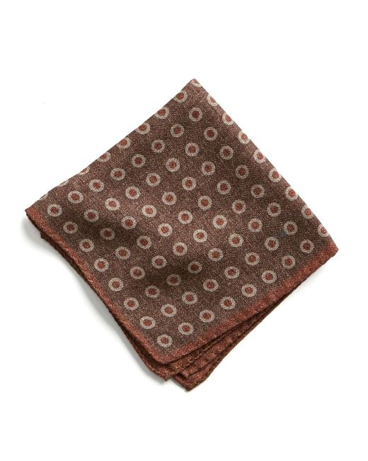 Todd Snyder - Italian Wool Pocket Square In Large Brown Circle for Men - Lyst