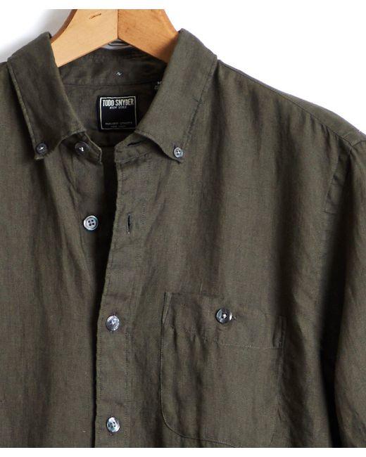 Todd Snyder Green Solid Linen Shirt In Olive for men
