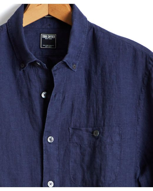 Todd Snyder - Blue Linen Indigo Button Down Pocket In Navy for Men - Lyst