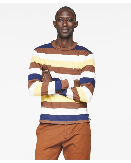 Todd Snyder White Bold Long Sleeve Striped T-shirt for men