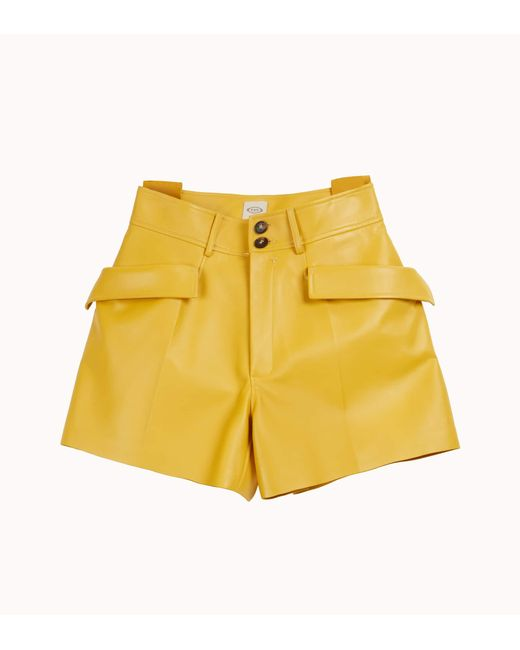 Shorts in Pelle di Tod's in Yellow