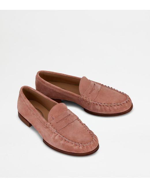 Mocassin en Cuir Velours Tod's pour homme en coloris Pink