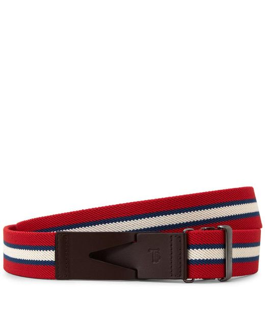 Tod's - Red Canvas And Leather Belt for Men - Lyst