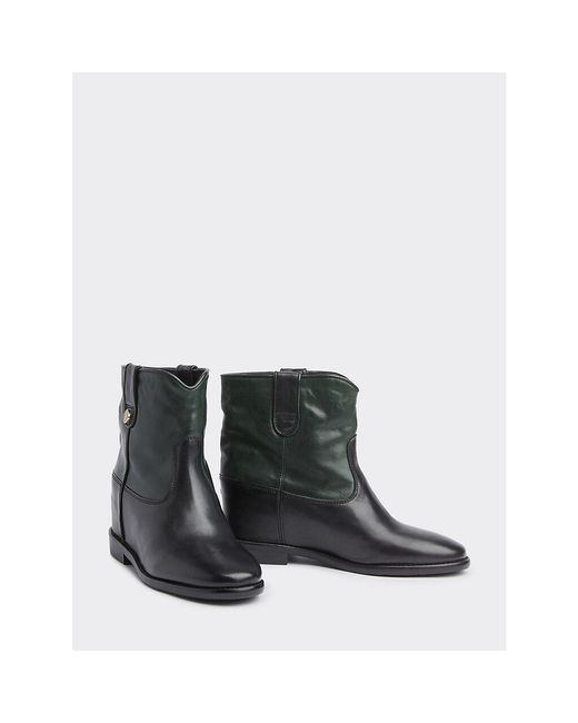 Tommy Hilfiger Green Concealed Wedge Leather Ankle Boots