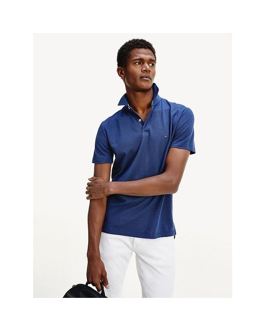 Tommy Hilfiger Blue Small Dot Print Regular Fit Polo for men