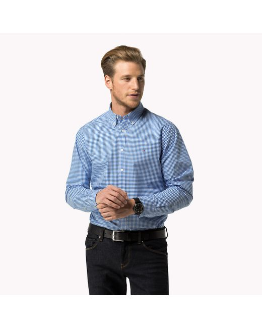 Tommy Hilfiger | Blue Cotton Gingham Shirt for Men | Lyst