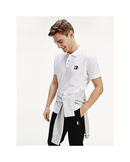 Tommy Hilfiger White Icons Monogram Patch Polo for men