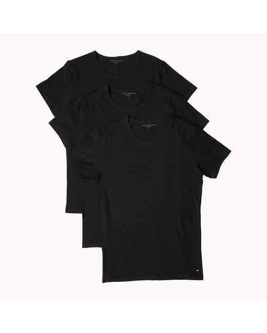 Tommy Hilfiger Black 3 Pack Essential Cotton T-shirts for men