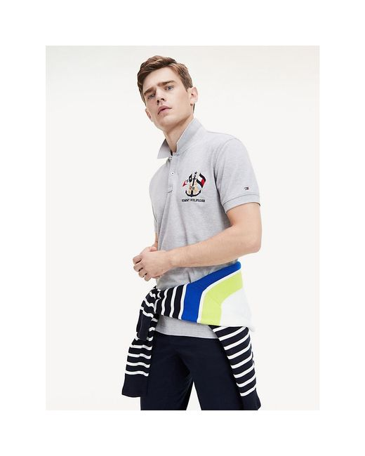 Tommy Hilfiger Gray Nautical Logo Polo for men