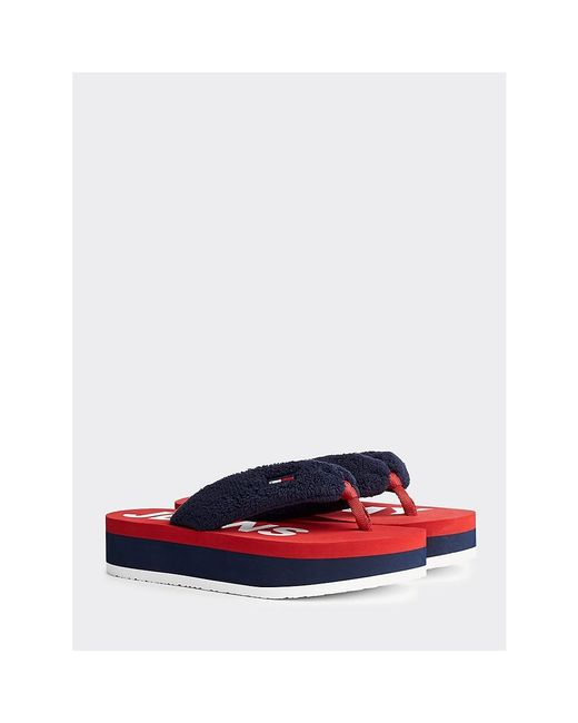 Tommy Hilfiger Blue Colour-blocked Flatform Sandals