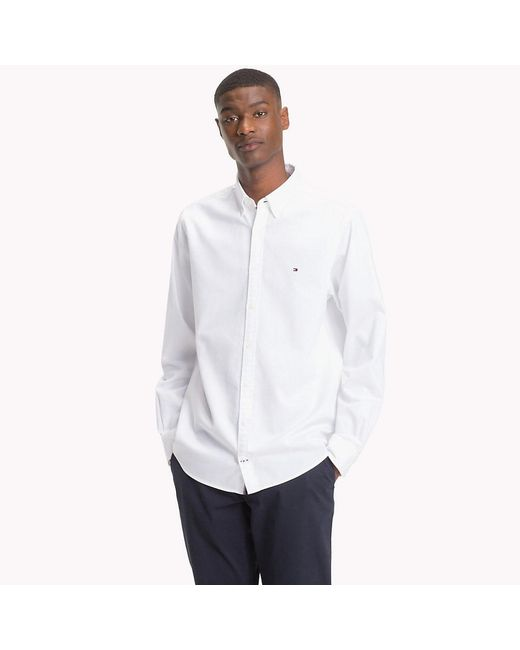 176d26e0b ... Tommy Hilfiger - White Two-tone Dobby Shirt for Men - Lyst ...