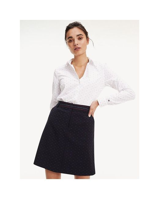 Tommy Hilfiger White Dobby Spot Fitted Shirt