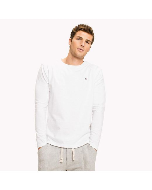 Tommy Hilfiger - White Organic Cotton Long Sleeve Top for Men - Lyst