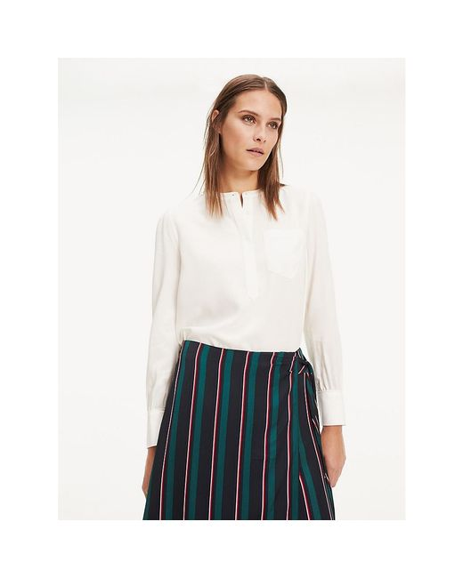 Tommy Hilfiger White Essential Popover Relaxed Fit Blouse