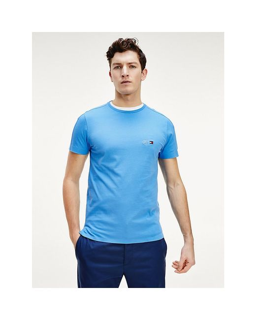 Tommy Hilfiger Blue Mercedes-benz Logo Cotton T-shirt for men