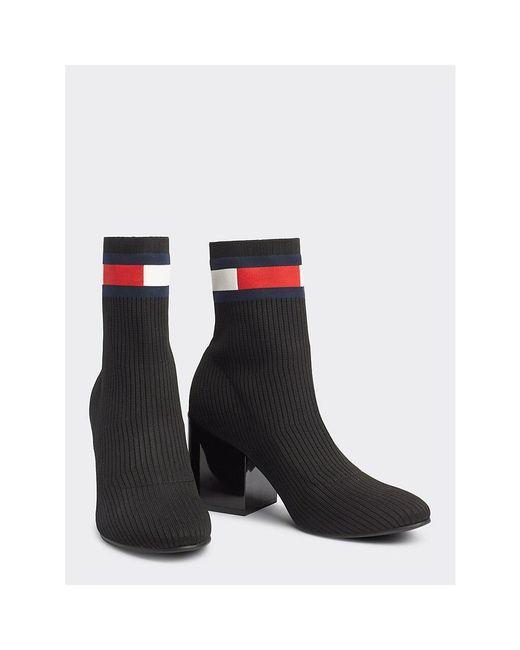 Tommy Hilfiger Black Flag Sock Mid Heel Boot Ankle