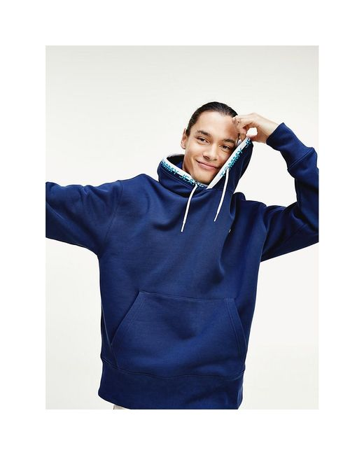 Tommy Hilfiger Blue Flag Patch Organic Cotton Hoody for men