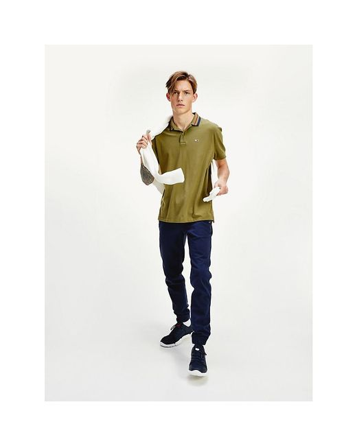 Tommy Hilfiger Green Classics Tipped Stretch Organic Cotton Polo for men