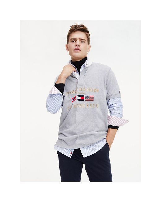 Tommy Hilfiger Gray Rugby Relaxed Fit Polo for men