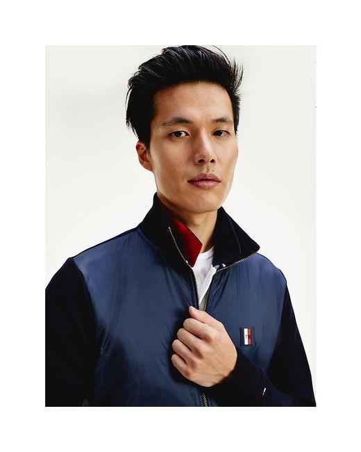 Tommy Hilfiger Blue Textured Panel Zip-thru Sweatshirt for men