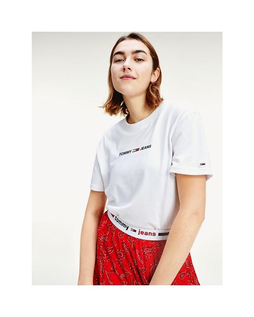 Tommy Hilfiger White Modern Logo Cropped Fit T-shirt