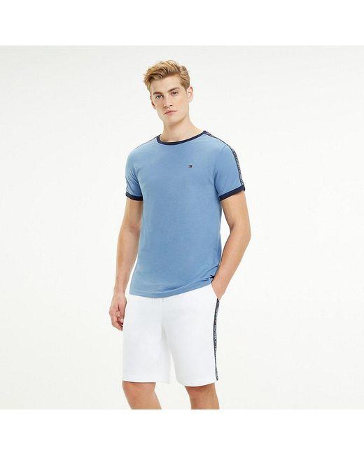 e49702d2 Tommy Hilfiger - Blue Repeat Logo Tape T-shirt for Men - Lyst ...