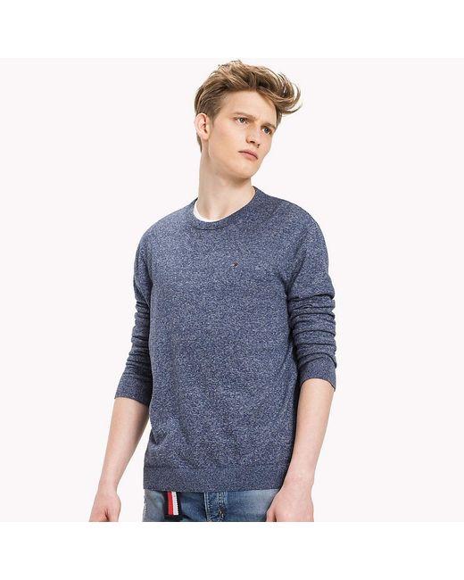 Tommy Hilfiger   Blue Cotton Crew Neck Sweatshirt for Men   Lyst
