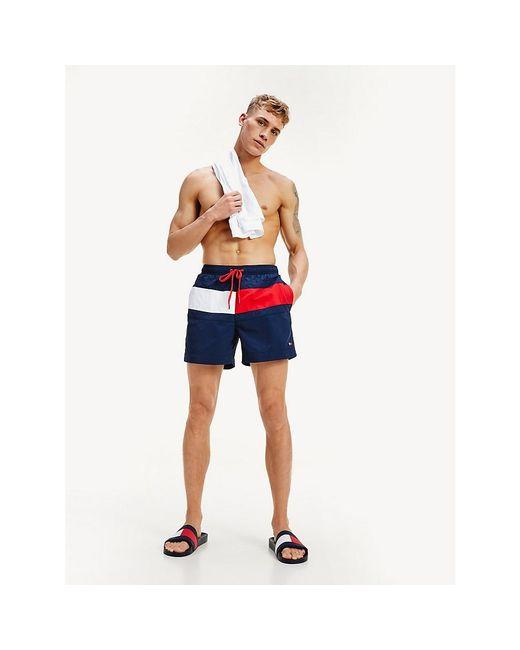 Tommy Hilfiger Blue Flag Panel Swim Shorts for men