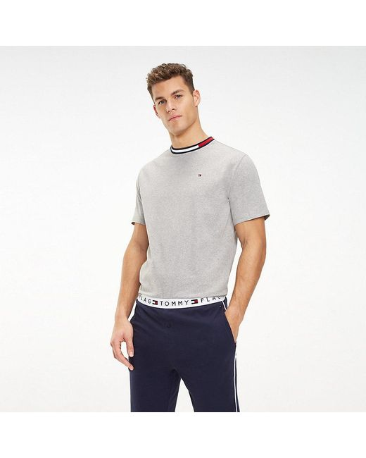 58e8886e Tommy Hilfiger - Gray Signature Tape T-shirt for Men - Lyst ...
