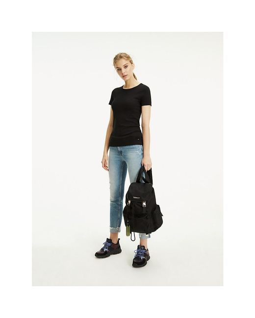 Tommy Hilfiger Black Essentials Ribbed Slim Fit T-shirt