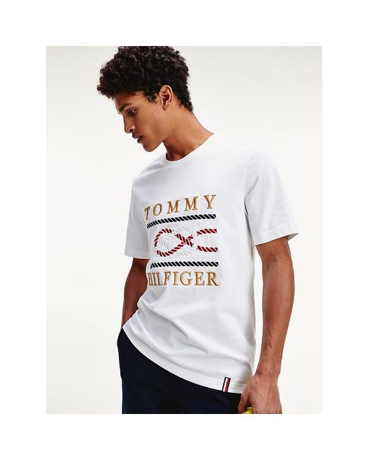 Tommy Hilfiger White Logo Embroidery Relaxed Fit T-shirt for men