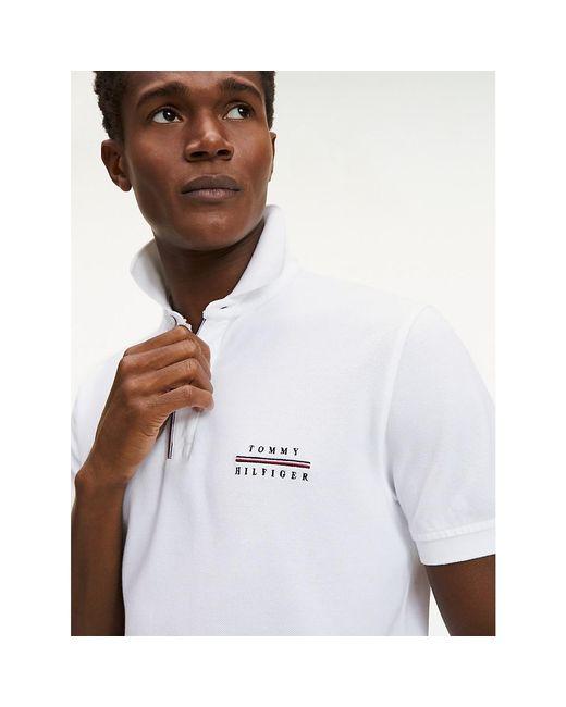 Tommy Hilfiger White Cotton Pique Regular Fit Polo for men