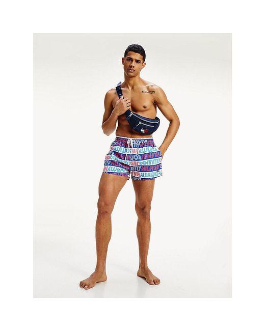 Tommy Hilfiger Blue All-over Logo Swim Shorts for men