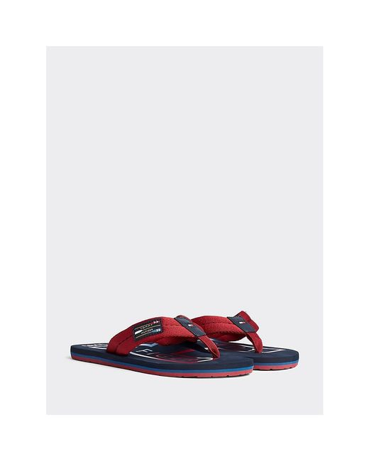 Tommy Hilfiger Red Colour-blocked Logo Beach Sandals for men