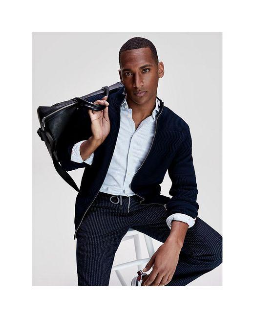 Tommy Hilfiger Blue Contrast Stripe Organic Cotton Zip-thru Jumper for men