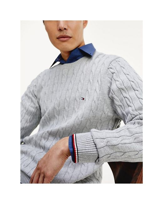 Tommy Hilfiger Gray Organic Cotton Cable Knit Jumper for men