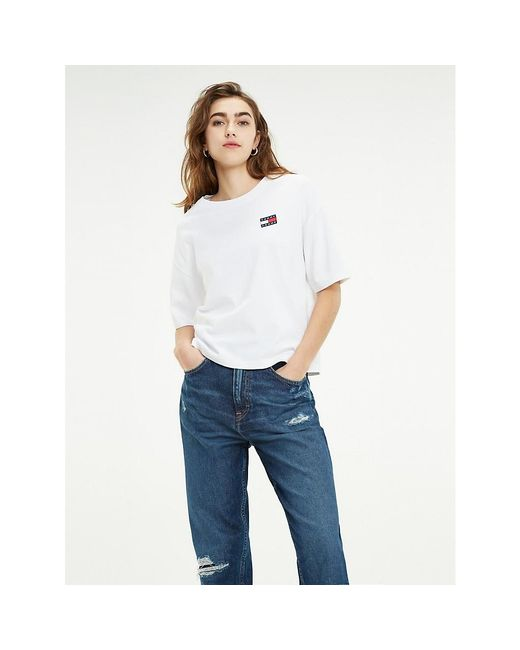 Tommy Hilfiger White Tommy Badge Recycled Cropped T-shirt
