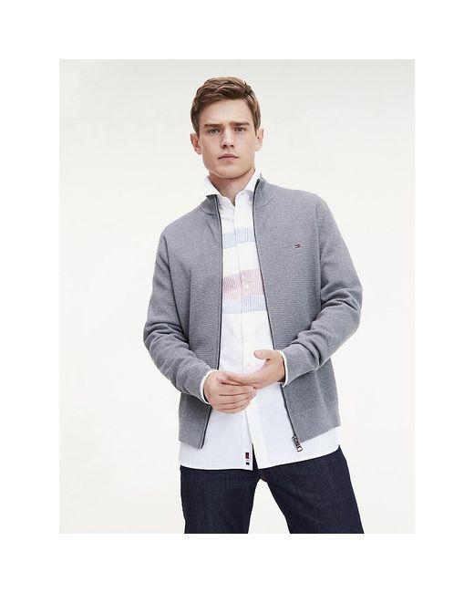 Tommy Hilfiger Gray Structured Cotton Zip-thru Jumper for men