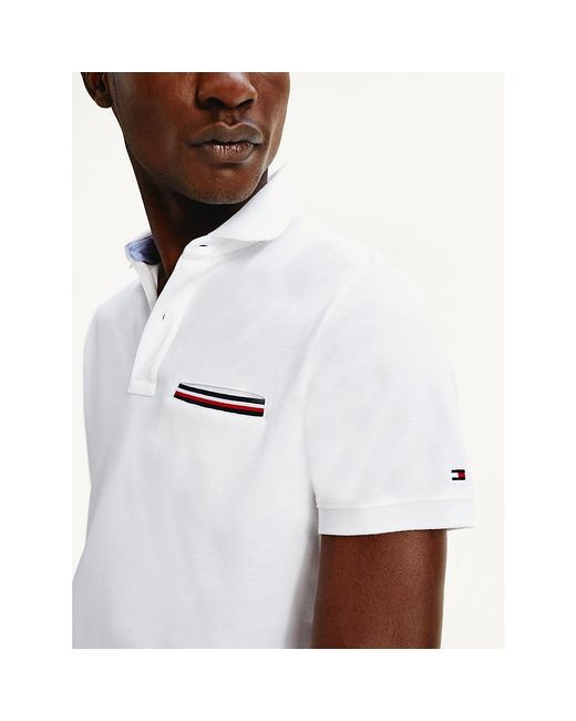 Tommy Hilfiger White Signature Chest Pocket Polo for men