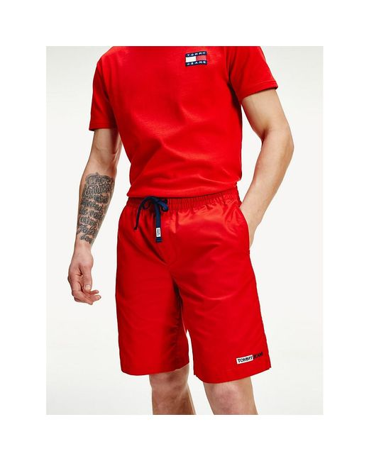 Tommy Hilfiger Red Relaxed Fit Basketball Shorts for men