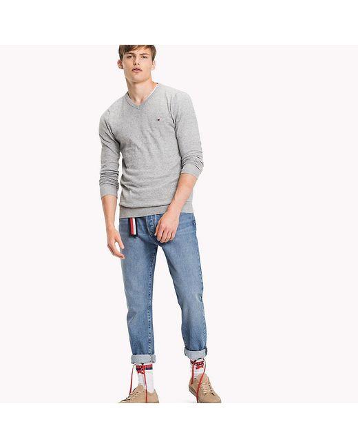 Tommy Hilfiger   Gray Cotton V-neck Jumper for Men   Lyst