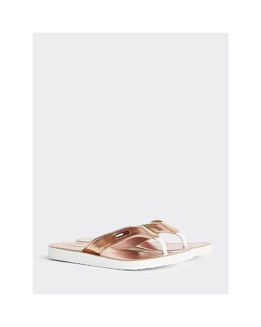 Tommy Hilfiger Pink Metallic Beach Sandals