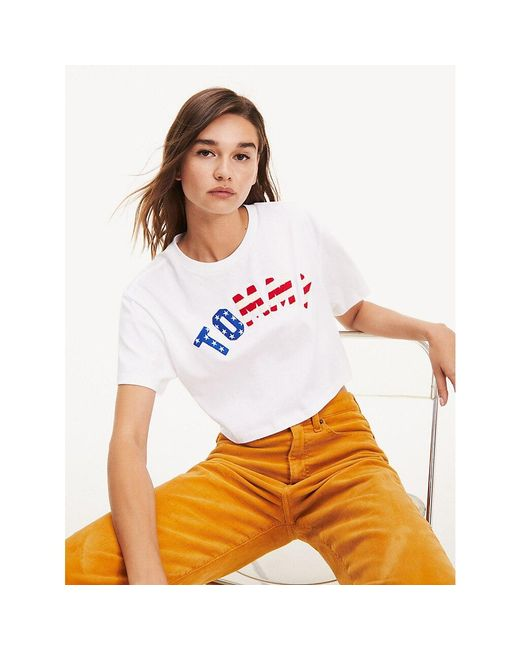 Tommy Hilfiger White Cropped Fit Flag T-shirt