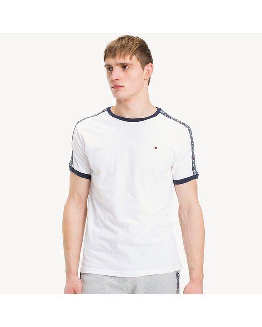 Tommy Hilfiger White Logo Tape T-shirt for men