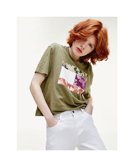 Tommy Hilfiger Green Camouflage Flag Print Cropped Fit T-shirt
