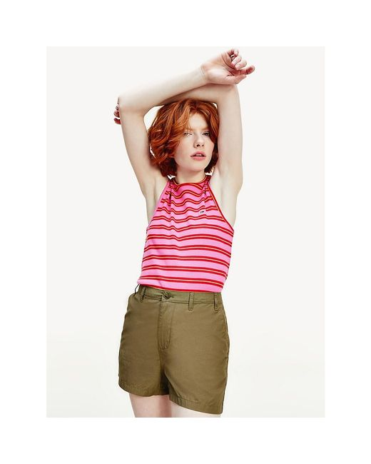 Tommy Hilfiger Pink Striped Ribbed Cotton Tank Top
