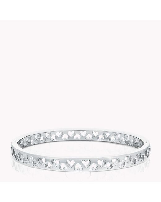 Tommy Hilfiger - Metallic Punched Heart Bangle - Lyst