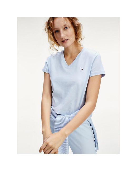 Tommy Hilfiger Blue Organic Cotton V-neck T-shirt