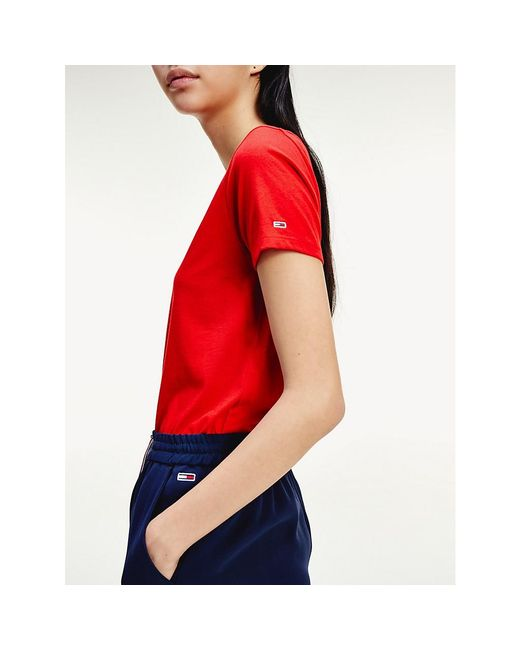 Tommy Hilfiger Red V-neck Logo T-shirt
